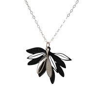 Black design. Elegant fan shape pendant made up of layered leaves based on the foliage of the native Eremophila plant. Created from light weight stainless steel, this is a two part pendant. The colour is a durable powdercoated finish contrasting with the soft grey of a stainless steel leaf motif.
