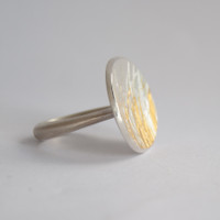 Flight silver and gold disc ring