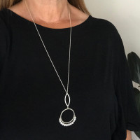 Cirque petal fresh water pearl sterling silver pendant
