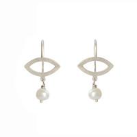 Petite petal sterling silver fresh water pearl earrings