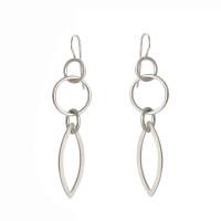 Triple Cirque petal sterling silver earrings