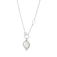 Radiating leaf sterling silver necklace