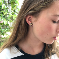Fern gold and silver stud earrings