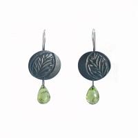 Embossed leaf silver peridot earrings