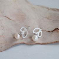 Double petal pearl sterling silver earrings