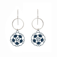 Hammered silver and coloured steel petal earrings