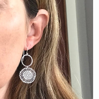 Hammered silver and coloured steel dot daisy earrings