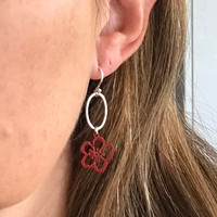 Hammered silver and coloured steel Geraldton Wax  earrings
