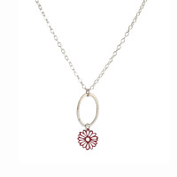 Hammered silver and coloured steel petite daisy pendant