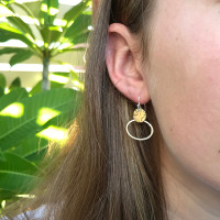 Encircle earrings - Sterling silver and brass