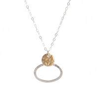 Encircle pendant - Sterling silver and brass