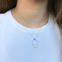 Embrace pendant - Sterling silver and brass