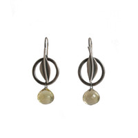 Circle leaf earrings - sterling silver and citrine