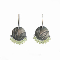 Peridot sterling silver leaf disc earrings