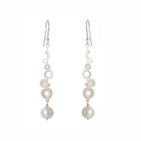 Fresh water pearl steel bud drop earrings