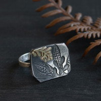 Frond gold and silver Cocktail Ring