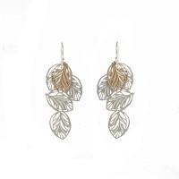 Lots of leaves earrings silver & gold