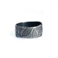 Leaf imprint sterling silver ring open back