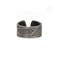 Leaf imprint sterling silver small ring open back