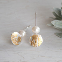 Fesh water pearl gold and silver wattle earrings