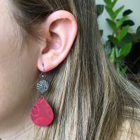 Red Stellaris silver and aluminium tear drop earrings