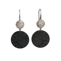 Black Stellaris silver and aluminium round earrings