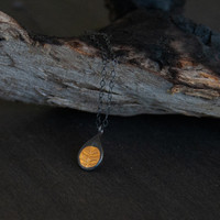 Fern gold and silver small tear drop pendant