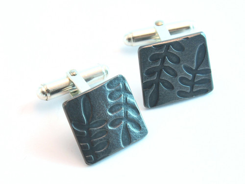Embossed fern cufflinks