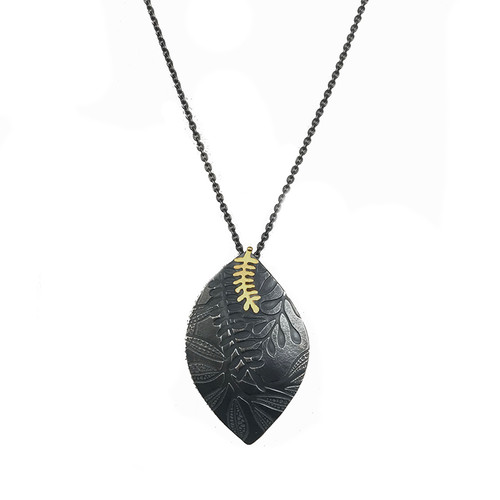 Leaf Imprint necklace 18ct gold and silver
