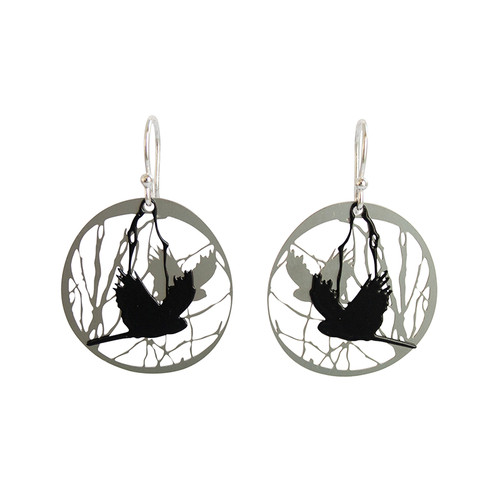 These unique earrings are inspired by the endangered Carnaby's Black Cockatoo that fly over our urban landscape in Perth.