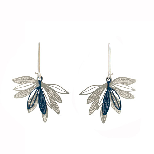Elegant fan shape earrings made up of layered leaves based on the leaves of the native Eremophila plant.
