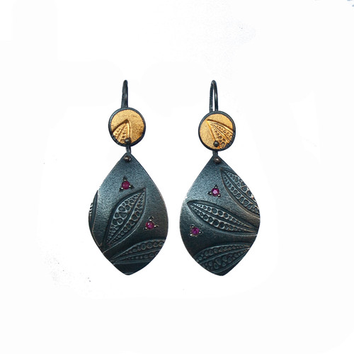 Ruby leaf imprint earrings