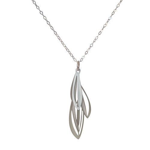 Elegant layered leaf pendant based on the varied leaves of native Eremophila plants  Made from stainless steel with contrasting powdercoated white colour and raw steel