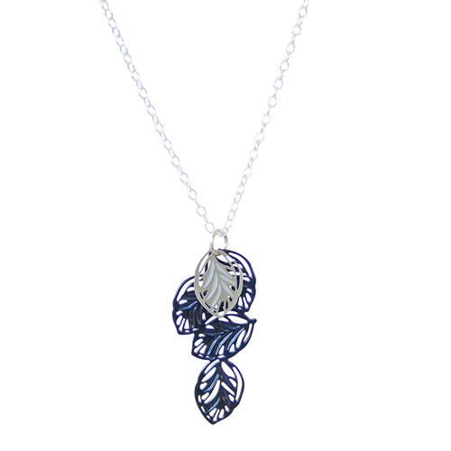 A multi leaf pendant with fine leaf vein detail Contrasting colours of stainless steel and powdercoated colour blue with sterling silver chain