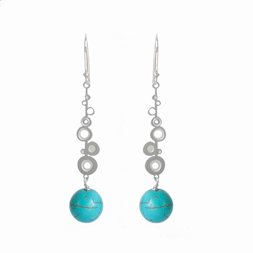 Aqua Howlite steel dot drop earrings