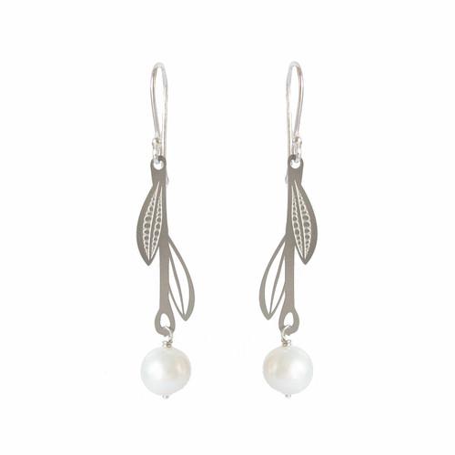 Fresh water pearl steel leaf drop earrings
