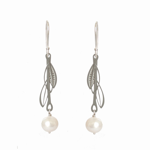 Fresh water pearl steel double leaf drop earrings