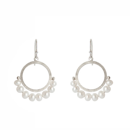 Cirque Fresh water pearl sterling silver earrings