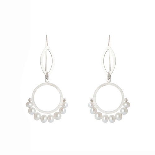 Cirque petal fresh water pearl sterling silver earrings