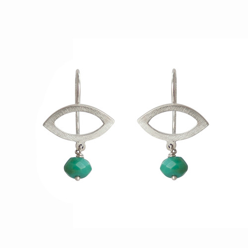 Petite petal sterling silver turquoise earrings