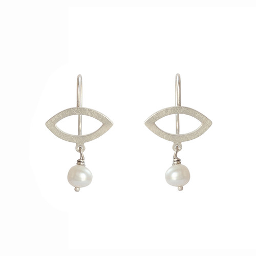Petite petal sterling silver fresh water pearl earrings
