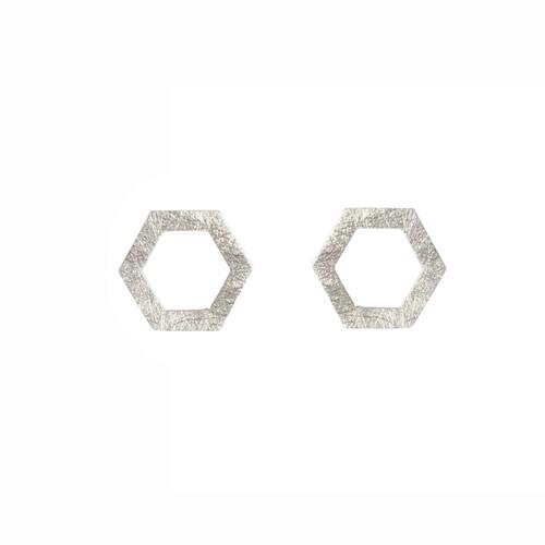 Hexagonal sterling silver studs