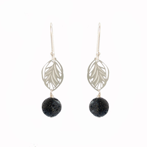 Small leaf lava bead earrings