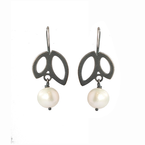 Double petal pearl oxidised sterling silver earrings