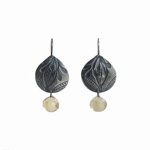 Autumn silver citrine foliage earrings