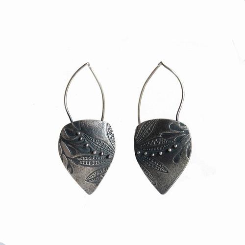 Autumn silver leaf sheild earrings