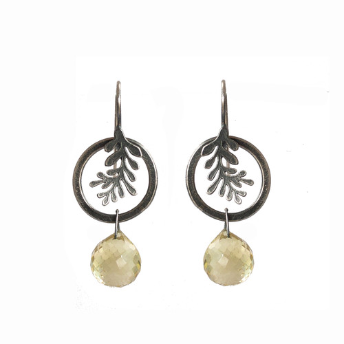 Circle frond earrings - sterling silver and citrine