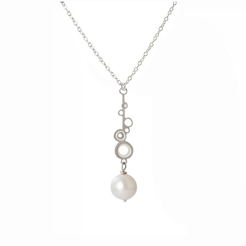 Fresh water pearl steel bud drop pendant small
