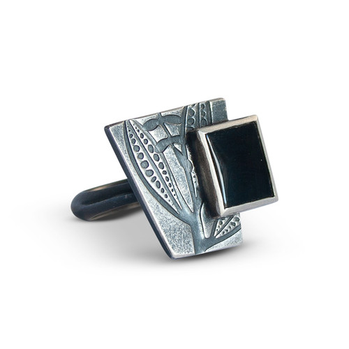 Geo Black Onyx Cocktail ring