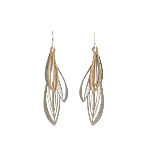 Double leaf earrings silver & gold